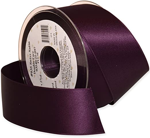 "WINE RED BY THE YARD 4/"" WIDE SWISS DOUBLE FACE SATIN RIBBON"