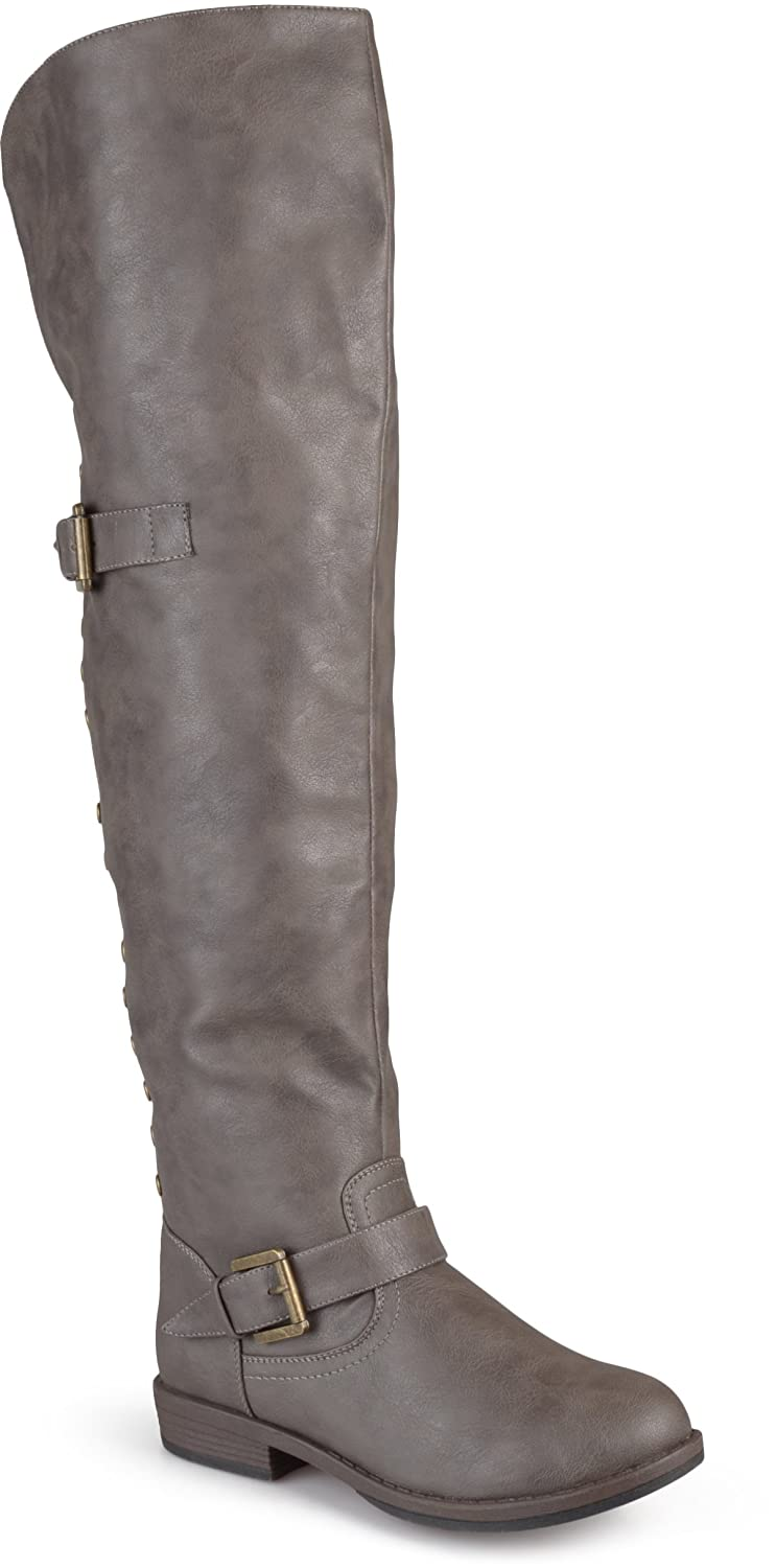 Journee Collection Women's Studded Over-the-knee Inside Pocket Buckle Boots B013X1161E 9 W US|Taupe