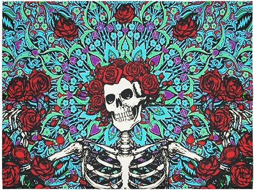 ADEDIY Fashion Custom Sugar Skull Rose Cotton Linen Tapestry Wall Decor Living Room Art DIY 60 x 80