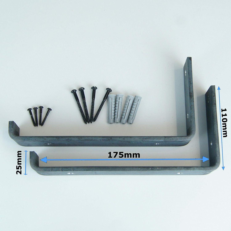 by BMF Direct/® Heavy Duty Shelf Brackets Rustic Scaffold Board Shelving Industrial Iron//Steel Metal 155mm 6 - Down Pair