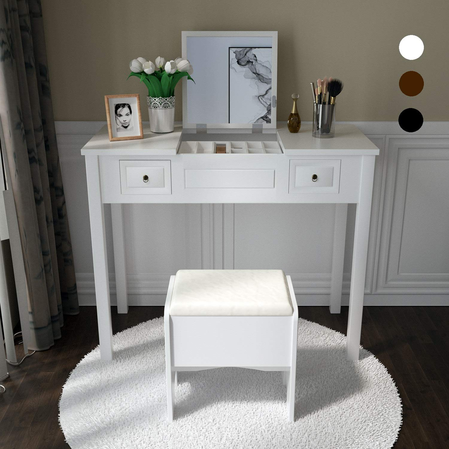 Vanity Set with Flip Top Mirror and Cushioned Storage Stool Makeup Dressing Table Study Writing Desk with 2 Drawers Stool in White by Amooly