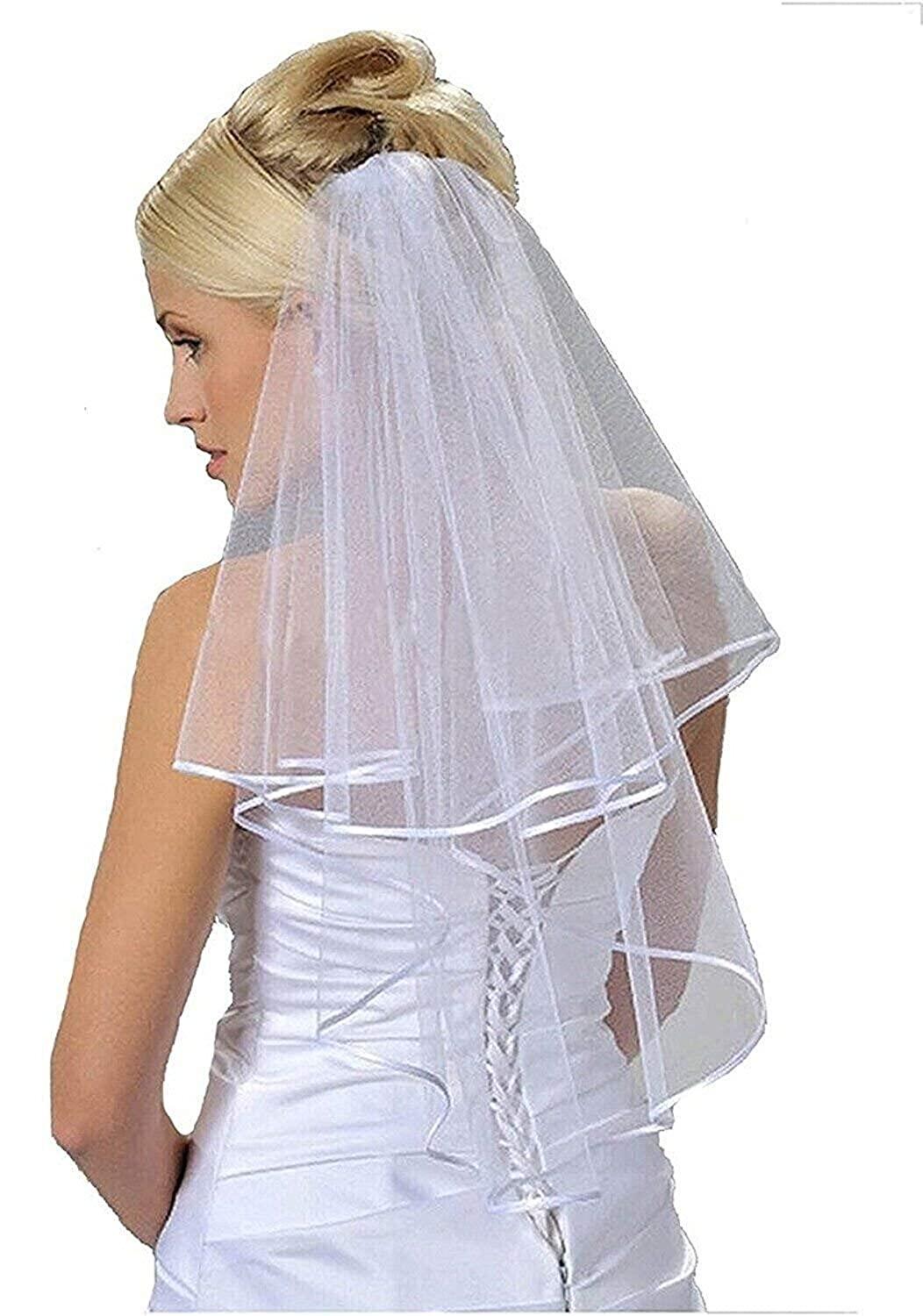 Womens 2 Layers Short Bridal Veil Wedding With Comb