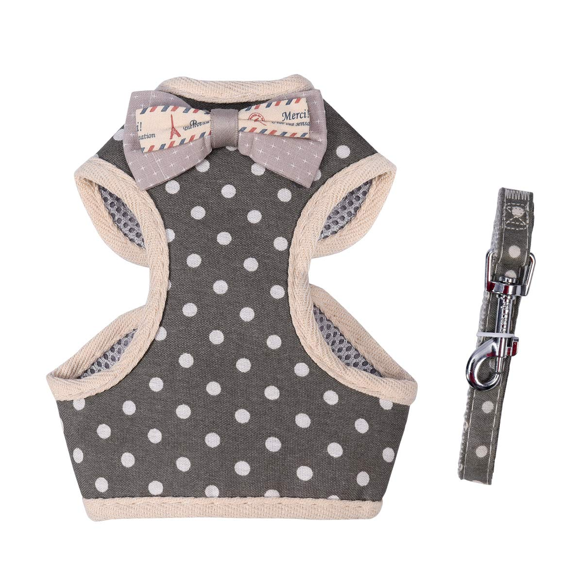 Grey-white spots M Chest Girth15\ Grey-white spots M Chest Girth15\ April Pets Comfortable Stylish Cotton Dog & Cat Harness Leash Set for Small Puppies and Cats (M, Grey-White Spots)