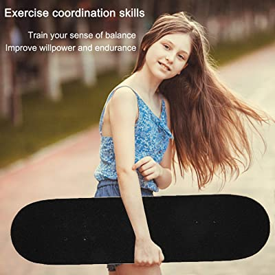 mingto Skateboard,31x8 Complete Standard Skateboards,Double Kick Skate Board for Teens Kids Beginners 7 Layer Canadian Maple Deck for Extreme Sports and Outdoors