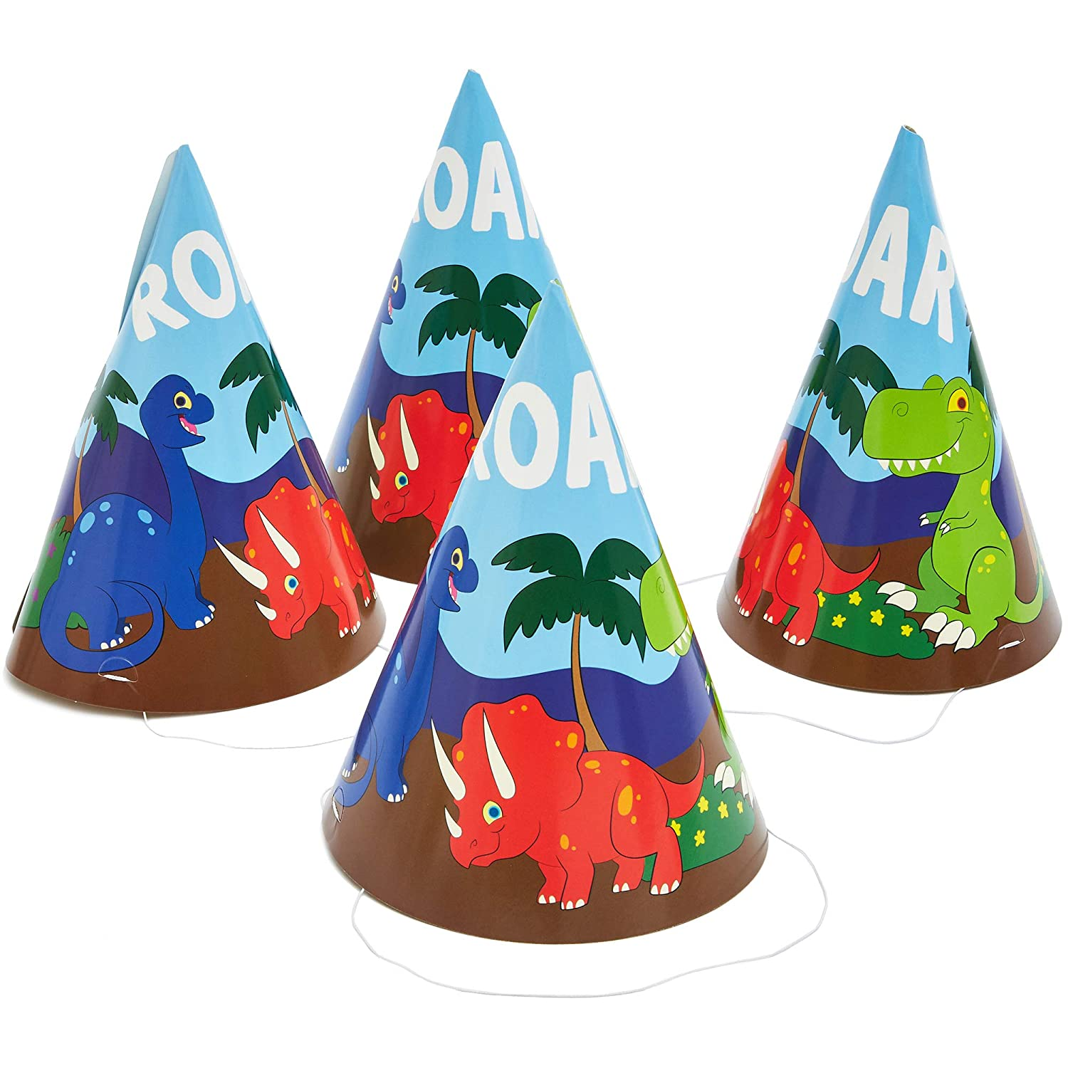Blue Panda Dinosaur Party Cone Hats - Pack of 24-5 x 7 Inches 713c8MVGkyL