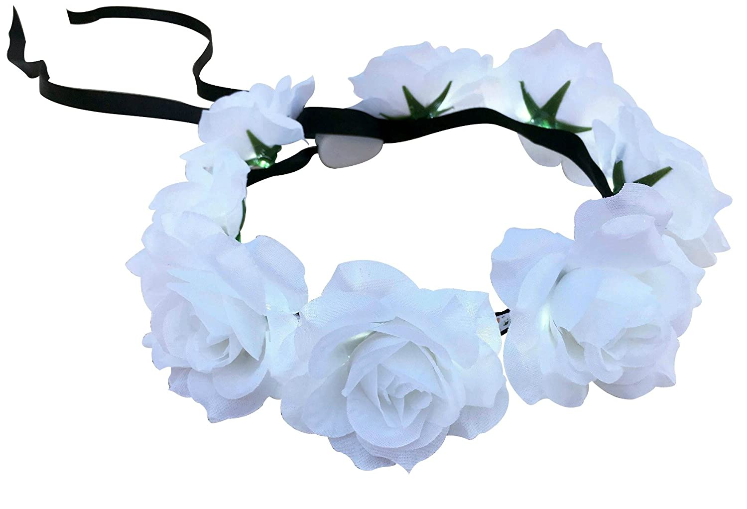 Amazon dreampixie white rose flower crown with led lights clothing izmirmasajfo Gallery