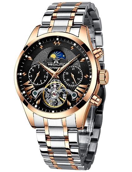 Relojes Hombre Reloj Hombre Automatico Mecanicos Impermeable Esqueleto Oro Acero Inoxidable Diseño Reloj de Pulsera Negro Luminosos Analógico Fase ...