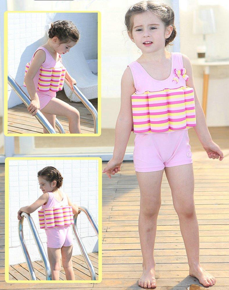 Bañador de una pieza con flotador integrado, para niños y niñas, Infantil, Pink Stripe, 2 años: Amazon.es: Deportes y aire libre