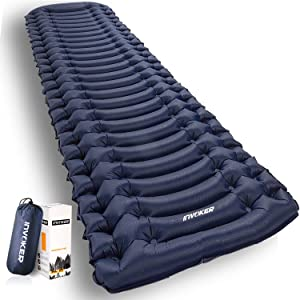 INVOKER Ultralight Inflatable Camping Sleeping Pad - Mat with Built-in Foot Pump, Lightweight Compact Air Mattress, Best Sleeping Pads for Backpacking Travel Hiking Beach, Fully Inflate in 25s