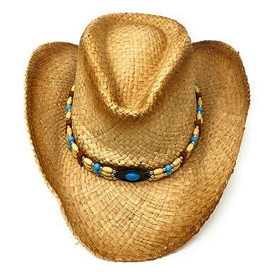 Raffia Straw Cowboy Hat. Blue Beaded Headband. Country Western Line Dancing b3ccb10950ce