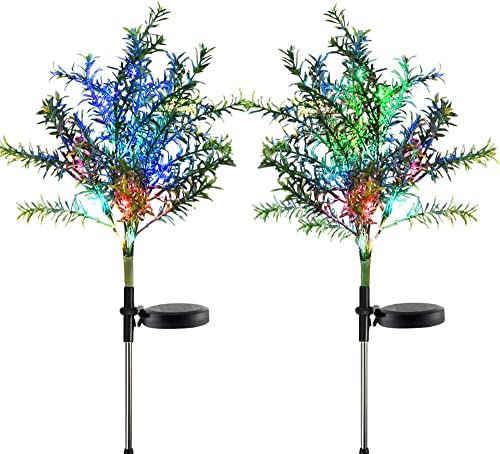 Idefair Solar Garden Lights Tree Outdoor Multi-Color Changing LED Stake Lights Flower for Garden, Patio, Yard and Decoration Solar Flickering Tree Lights Tree,2 Pack