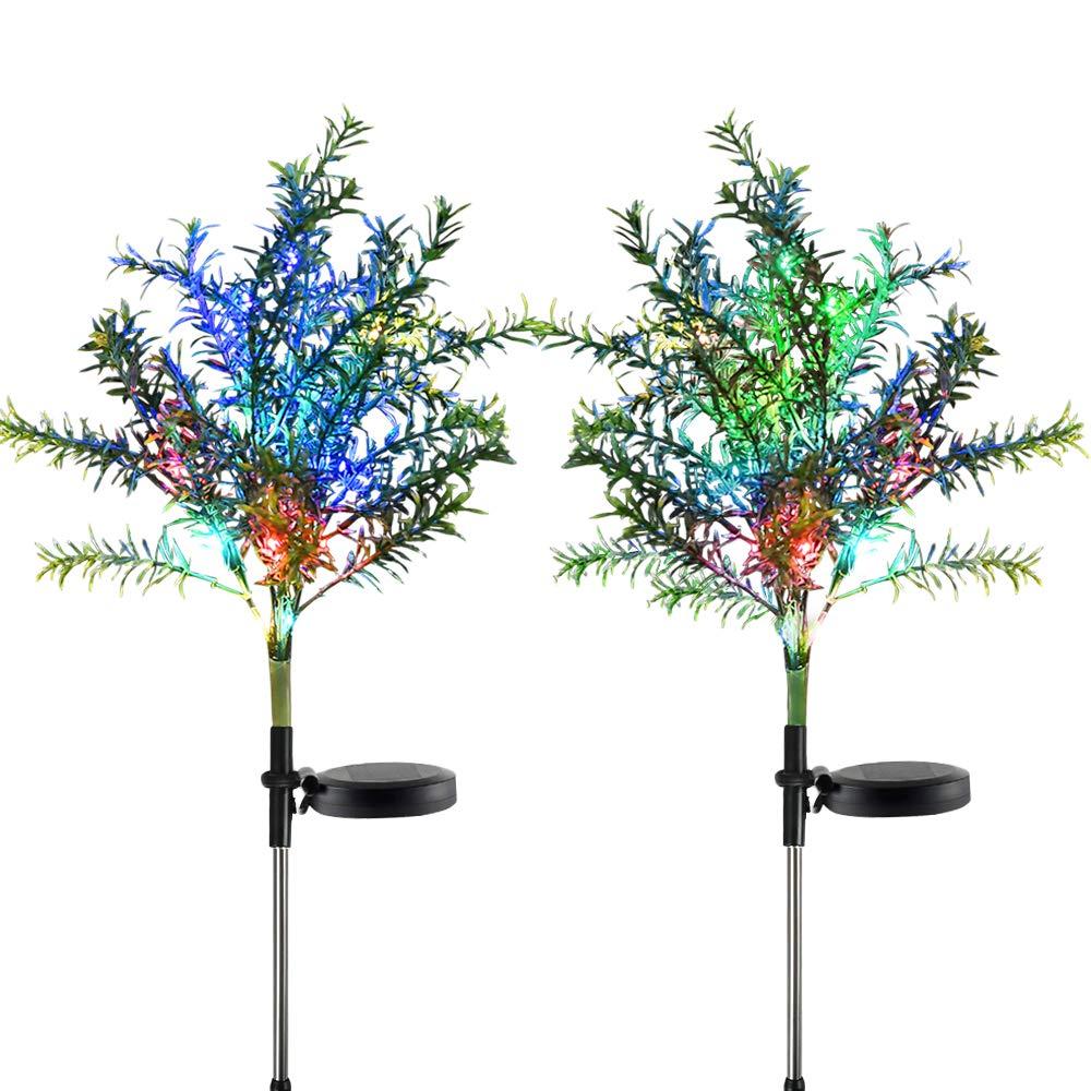 Idefair Solar Garden Lights Tree Outdoor Multi-Color Changing LED Stake Lights Flower