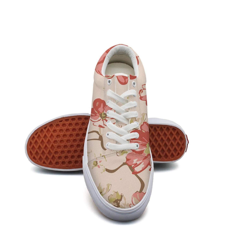 Ouxioaz Womens Classic Shoes Watercolor Peony Flower Rose Shoe Laces