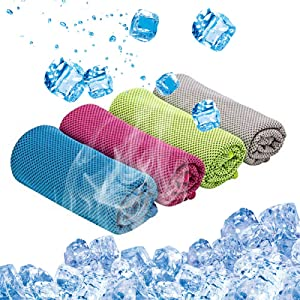 Kitmate Cooling Towel, 4 Pack Ice Towel for Neck Instant Cooling,Soft Breathable Chilly Towel,40x12 Inches Microfiber Fast Dry Towel for Sports Yoga Running Workout Gym Camping Fitness