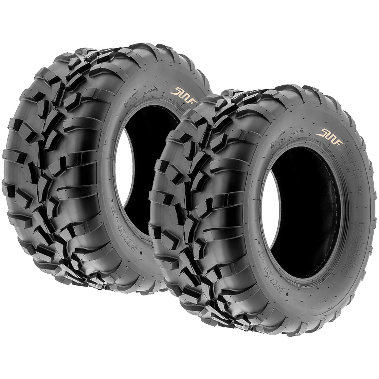 Pair of 2 SunF 25x11-12 AT-XC ATV/UTV Off-Road Tires , 6PR , Directional Knobby Tread | A010