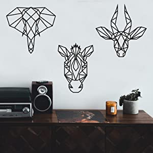 """Set of 3 Vinyl Wall Art Decals - Geometric Safari Animal Heads - from 18"""" to 20"""" Each - Modern Elephant Zebra Antelope Home Apartment Living Room Bedroom Office Workplace Decor"""