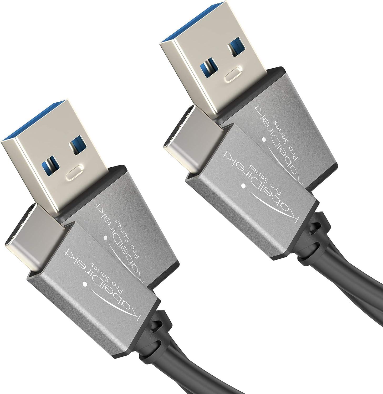 KabelDirekt Cable USB A 3.0 a USB C - 2X 1m - (Cable de Datos SuperSpeed y Cable de Carga, Adecuado para Smartphones y tabletas con conexión USB C, en Negro/Space Grey) – Pro Series