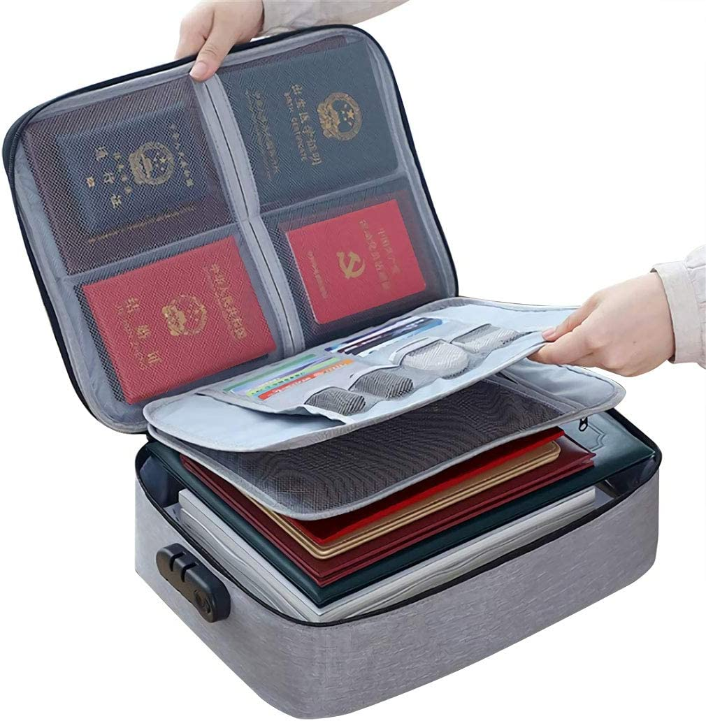 DELIWAY Waterproof 3-Layer Document Storage Bag with Password Lock,A4 Letter Size Document Holder,Portable Organizer for Passport,Legal Documents,Files,Valuables (Gray)