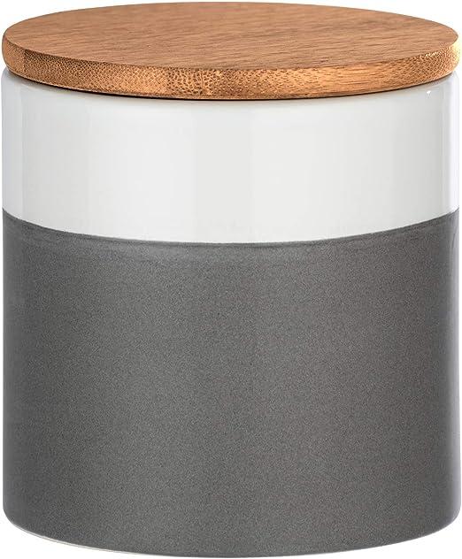 Wenko 54090100 Malta - Caja de almacenaje con Tapa de bambú, Capacidad: 0, 45 L, cerámica, 10 x 10 x 10 cm, Color Gris y Blanco: Amazon.es: Hogar