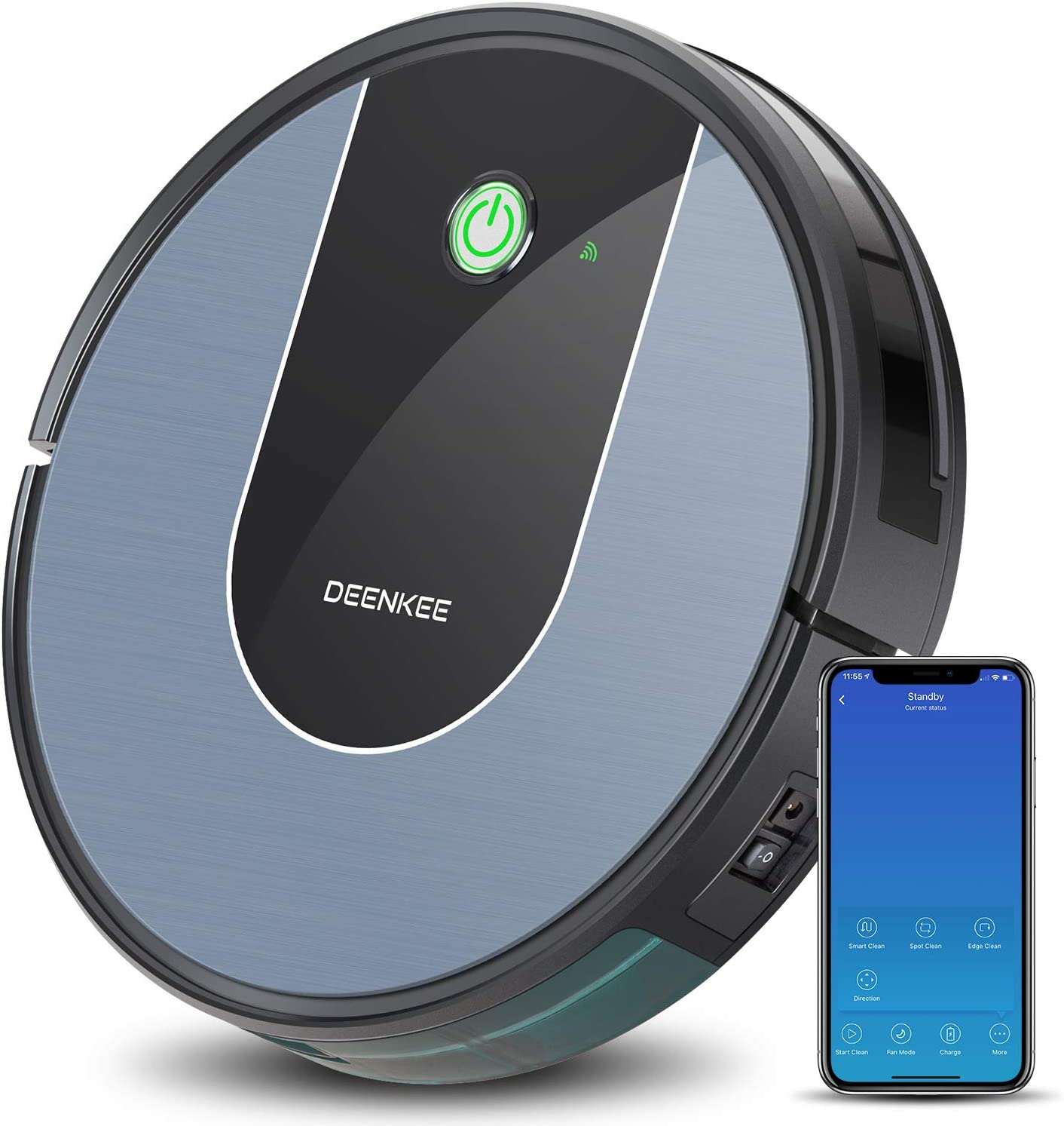 DeenKee DK700 Robot Vacuum,Wi-Fi,App Control,1400Pa High Suction,2.9 inch Super-Thin,6 Cleaning Modes,Quiet,Work with Alxea,Robotic Vacuum Cleaner for Pet Hair,Hard Floor,Carpet