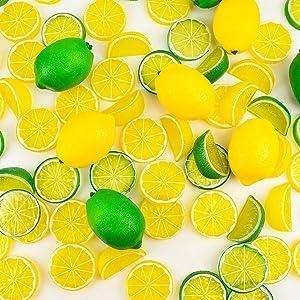 30PCS Fake Lemons Limes and Slices Blocks,Simulation Lemon Artificial Decorations for Home Kitchen Table Office Weddings Table Centerpiece Party with Lemon Tree Decor Theme(Lemons+Limes)