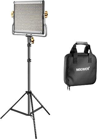Neewer Kit Regulable Bi-Color 480 LED de Vídeo y Luz de Soporte Incluye: 3200-5600K CRI 96+ Panel de LED con Soporte U, 200-centímetro Soporte de Luz para Youtube Estudio Fotografía Video Grabaciones: