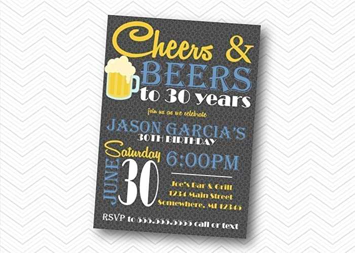 Cheers Beers Printed Birthday Invitations For Him