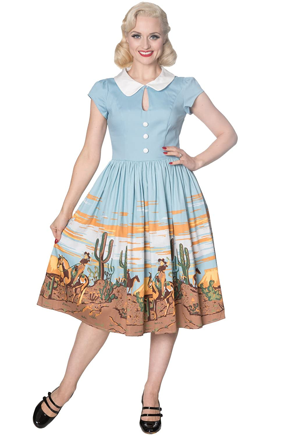 What Did Women Wear in the 1950s? Banned Magical Day Retro Fifties Shirtwaist Dress $62.95 AT vintagedancer.com