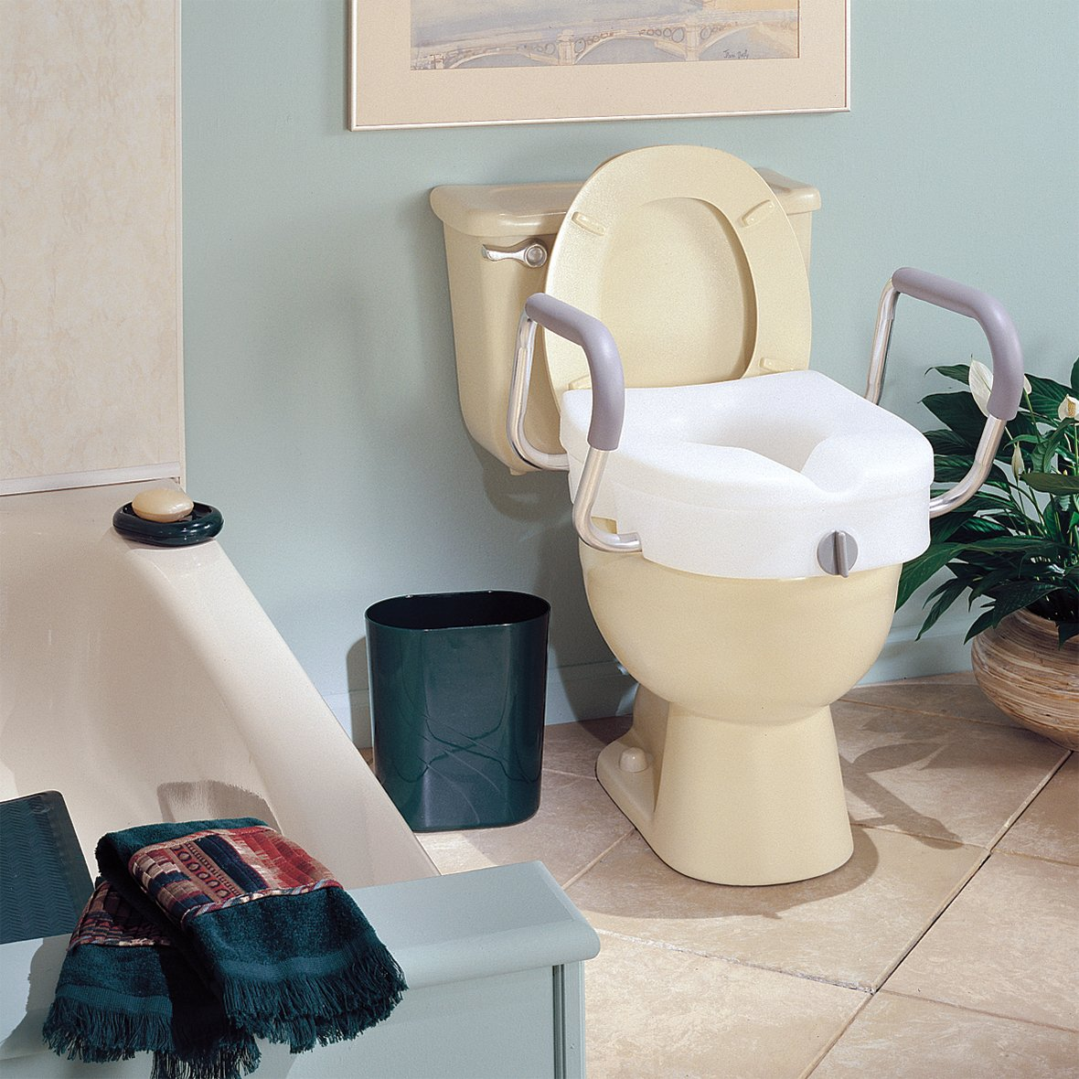 Carex E Z Lock Raised Toilet Seat With Handles Adds 5