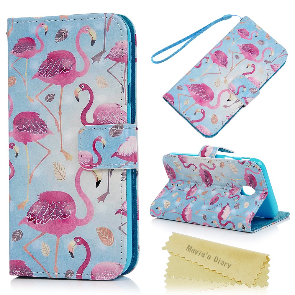 Mavis's Diary J3 2017 Case, Colorful Pattern 3D Relief Printed Premium PU Leather Wallet Flip Cover Case Magnetic Clasp Stand Shell Card Holders Case For Samsung Galaxy J3 2017 - Flamingo Mavis' s Diary