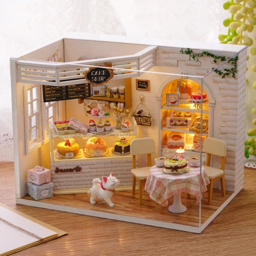 Kisoy Romantic and Cute Dollhouse Miniature DIY House Kit Creative Room Perfect DIY Gift for Friends, Lovers and Families(Cake Diary)Plus Dust Proof Cover