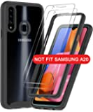Samsung Galaxy A20S Case, Galaxy A20S Case with 2 Tempered Glass Screen Protector, LeYi Full-Body Protective Rugged Hybrid Bumper Shockproof Clear Phone Cases for Samsung A20S (Not Fit A20), Black
