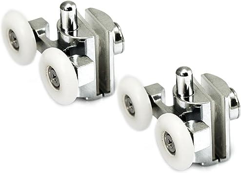 4X Shower Door Rollers Zinc Alloy Top/& Bottom Twin Wheels Rollers Runner 23mm