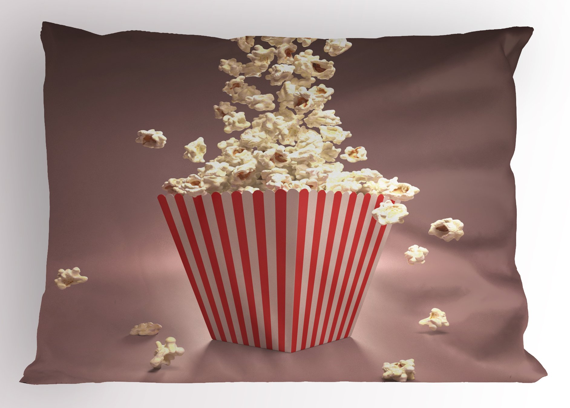 Ambesonne Retro Pillow Sham, Retro Style Popcorn Art Image Cinema Movie Theater Theme in Classical Display, Decorative Standard Queen Size Printed Pillowcase, 30 X 20 inches, Light Red White