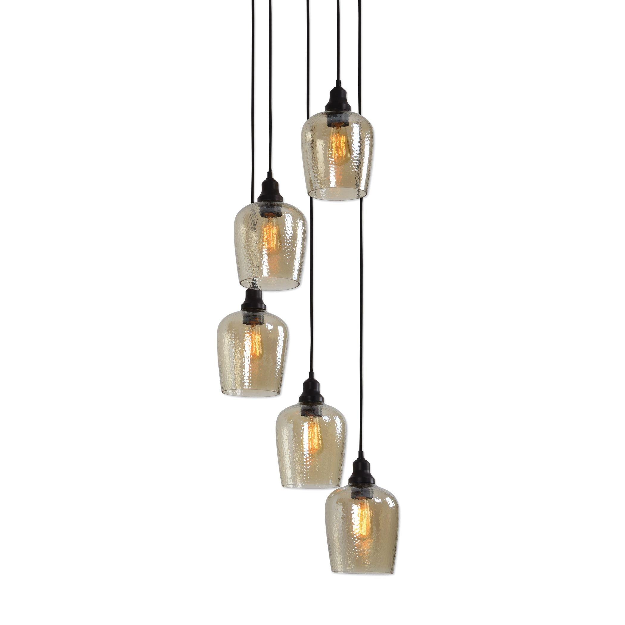 Elegant Bronze Amber Glass 5 Light Cluster Pendant | XL Chandelier Mid Century Modern