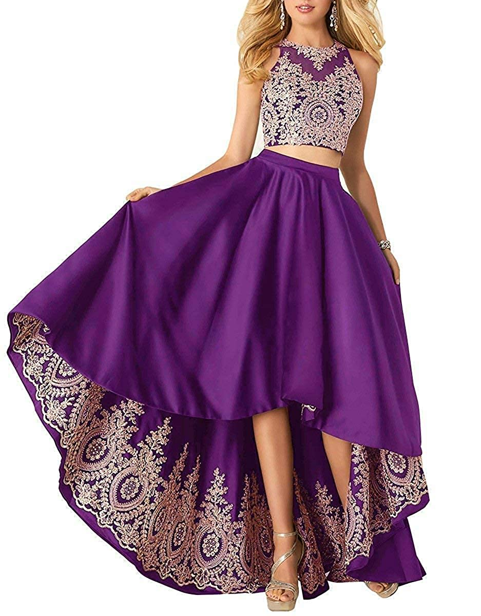 Purple Miao Duo Women's High Low Lace Beads Prom Party Dresses 2 Pieces Long Formal Homecoming Ball Gowns PM121