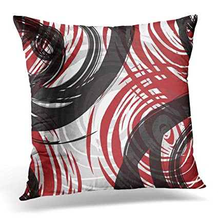 VANMI Throw Pillow Cover Black Bold Red Spiral Design Gray Grey Classy Red And Gray Decorative Pillows