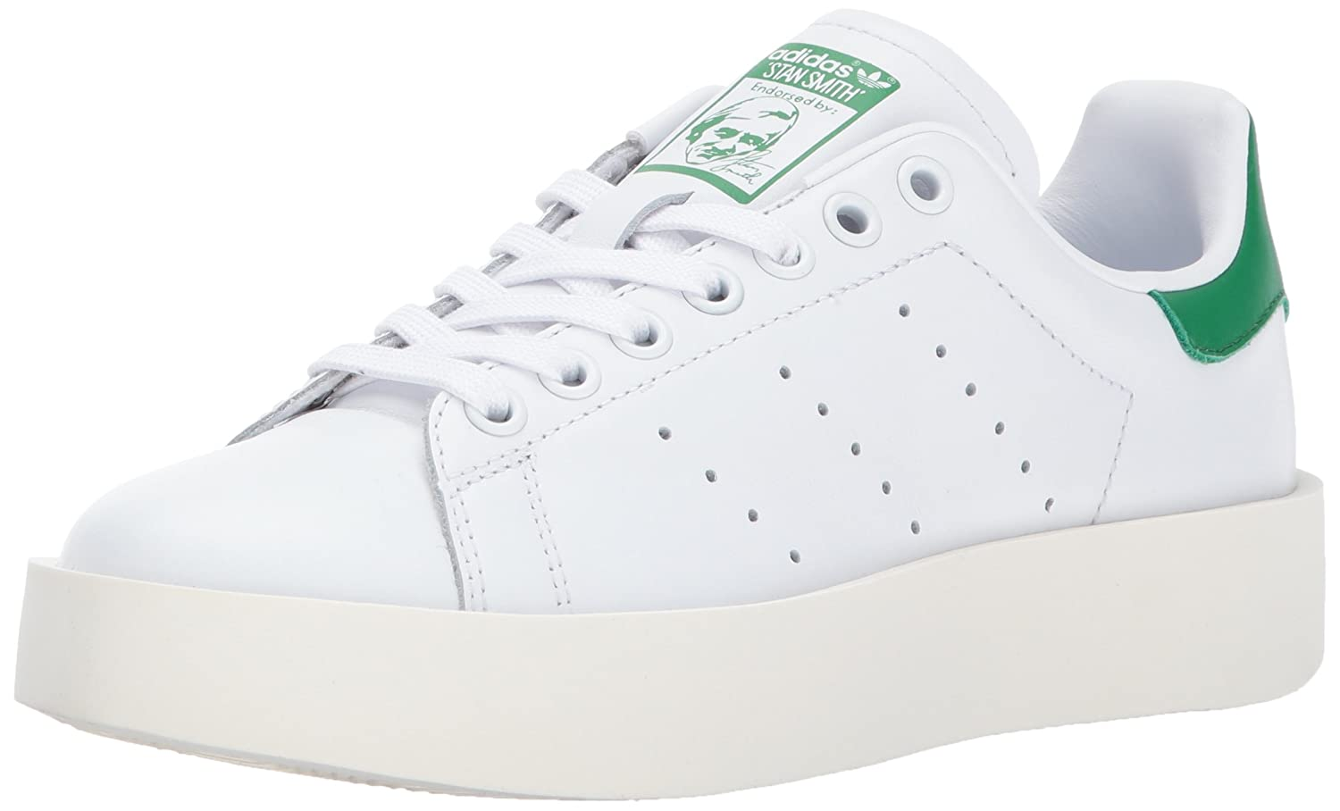 White White Green Adidas ORIGINALS Women's shoes   Stan Smith Bold Sneakers
