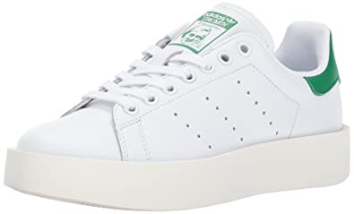 adidas Originals Women's Stan Smith Bold W Sneaker, White/White/Green, 10.5