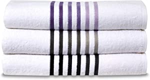 WestPoint Home Ombre Stripe 6 Pack Wash Towel Set, Cloth, Dark Grey