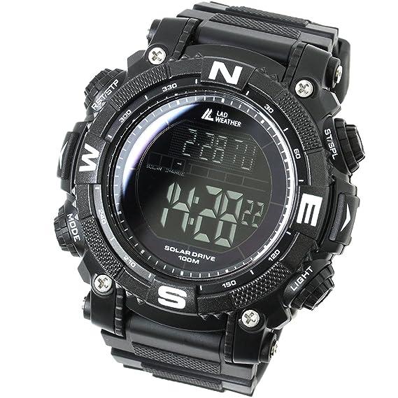 LAD WEATHER Militar Reloj Potente Batería Solar Cronógrafo Deportes al Aire Libre (bkbk)
