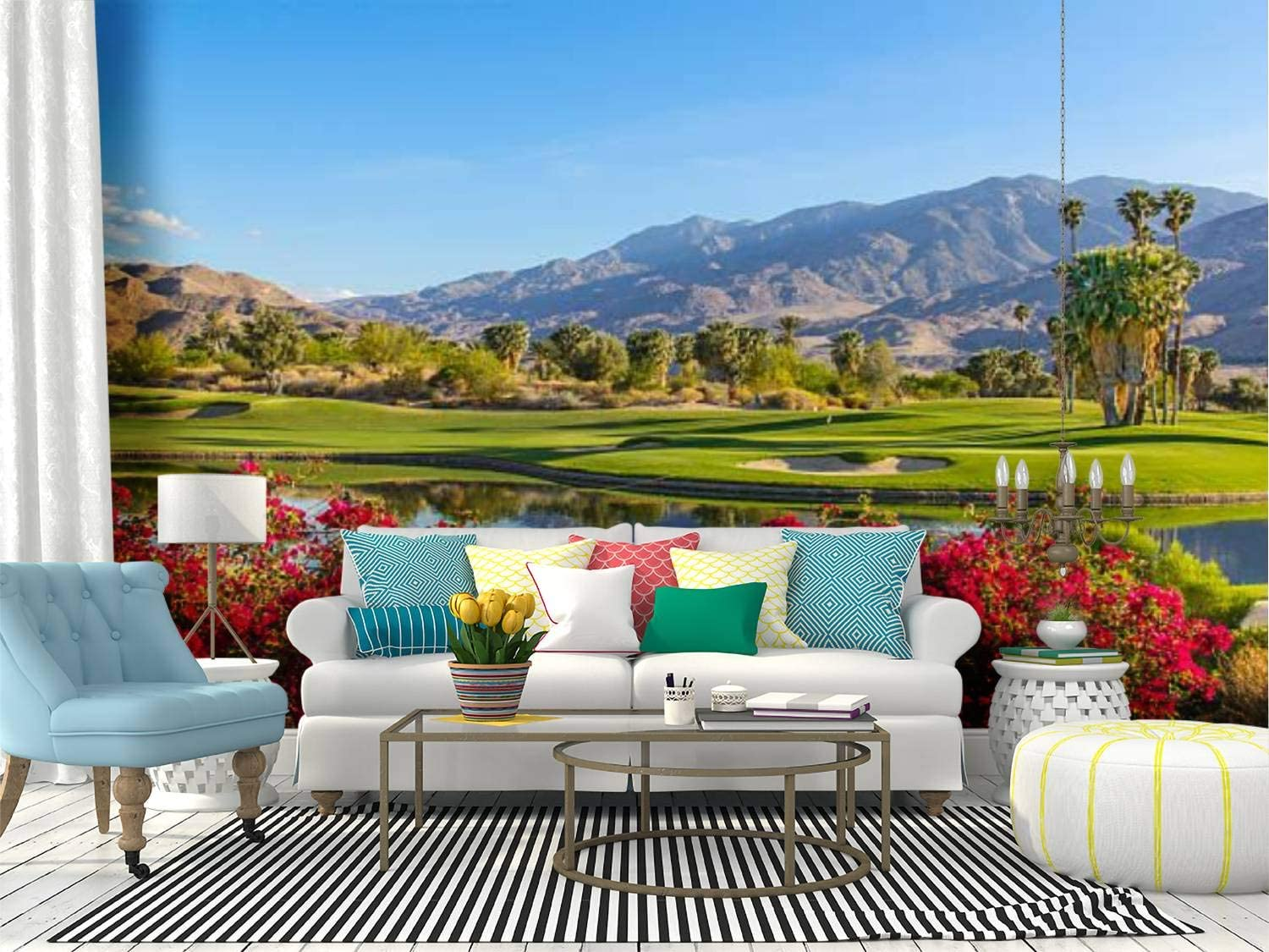 Amazon Com Wall Mural Golf Course In Palm Springs California P Floral Beauty Stock Peel And Stick Wallpaper Self Adhesive Wallpaper Large Wall Sticker Removable Vinyl Film Roll Shelf Paper Home Decor Home