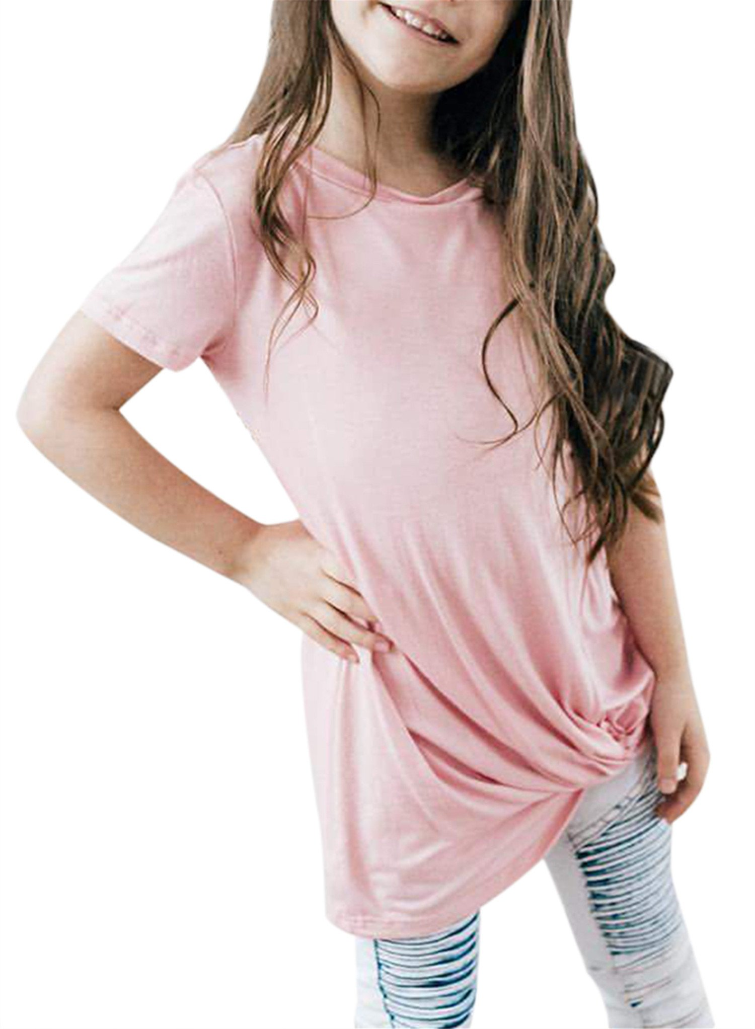 Bulawoo Girls Casual Loose Short Sleeve Tunic Tops Knot Front Big Girls Fashion Tops Tee Shirts Size 4-13 6-7 Years Pink
