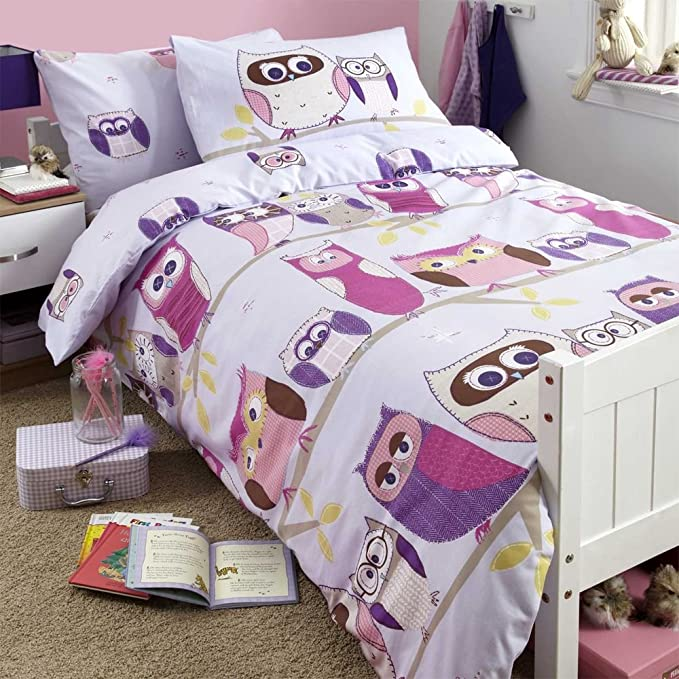 SCM Owl Parure de lit avec Housse de Couette en 100/% Coton