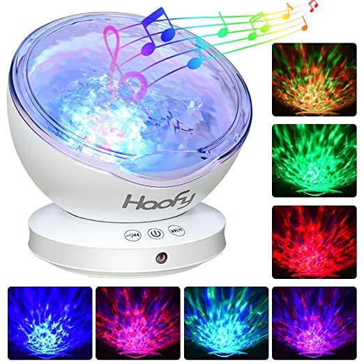 Luz de Proyector, Haofy Ocean Wave proyector con mini reproductor de música incorporado 7 colores Night Lamp 12LED lámpara con música para bebé Kids ...