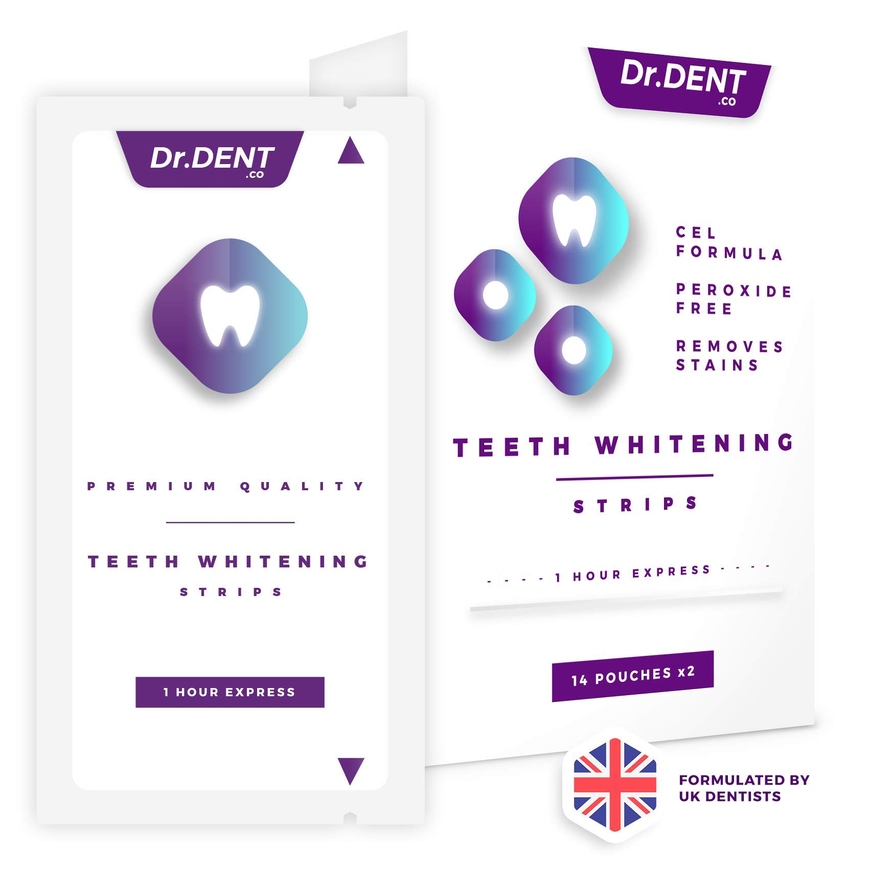 Teeth Whitening Strips by DrDent | 1 Hour Express | No Sensitivity | Peroxide-Free | 3D Teeth Whitening Kit (28 Whitening Strips) | 100% Money Back Guarantee product image