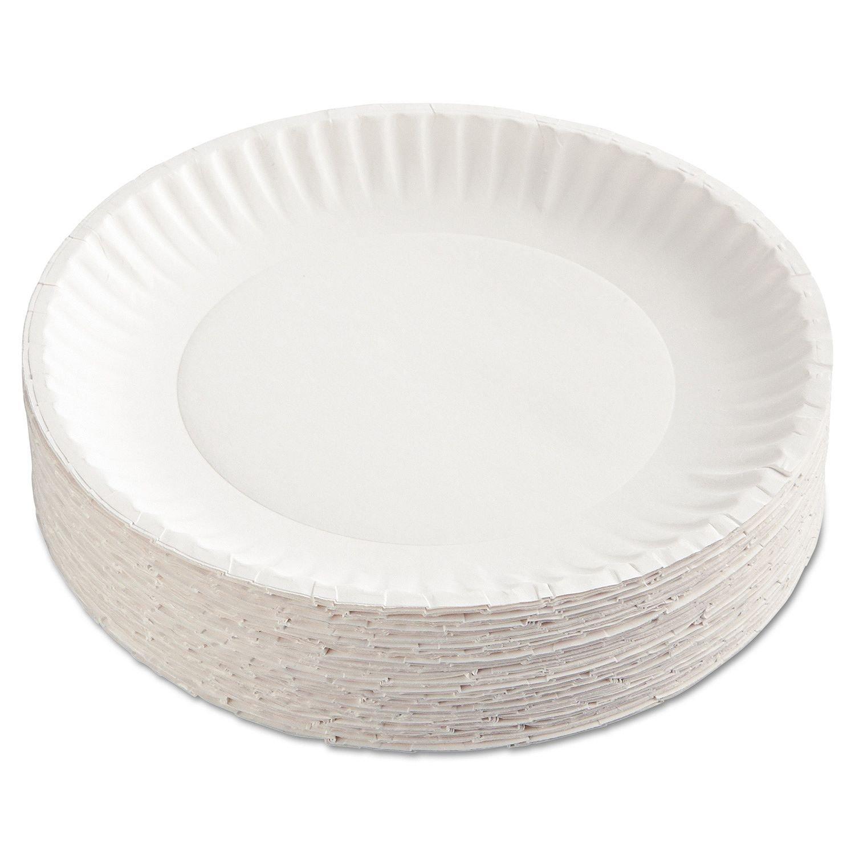 AJM Packaging Corporation PP9GRAWH Paper Plates, 9'' Diameter, White, 12 Packs of 100 (Case of 1200) (Case of 2400)