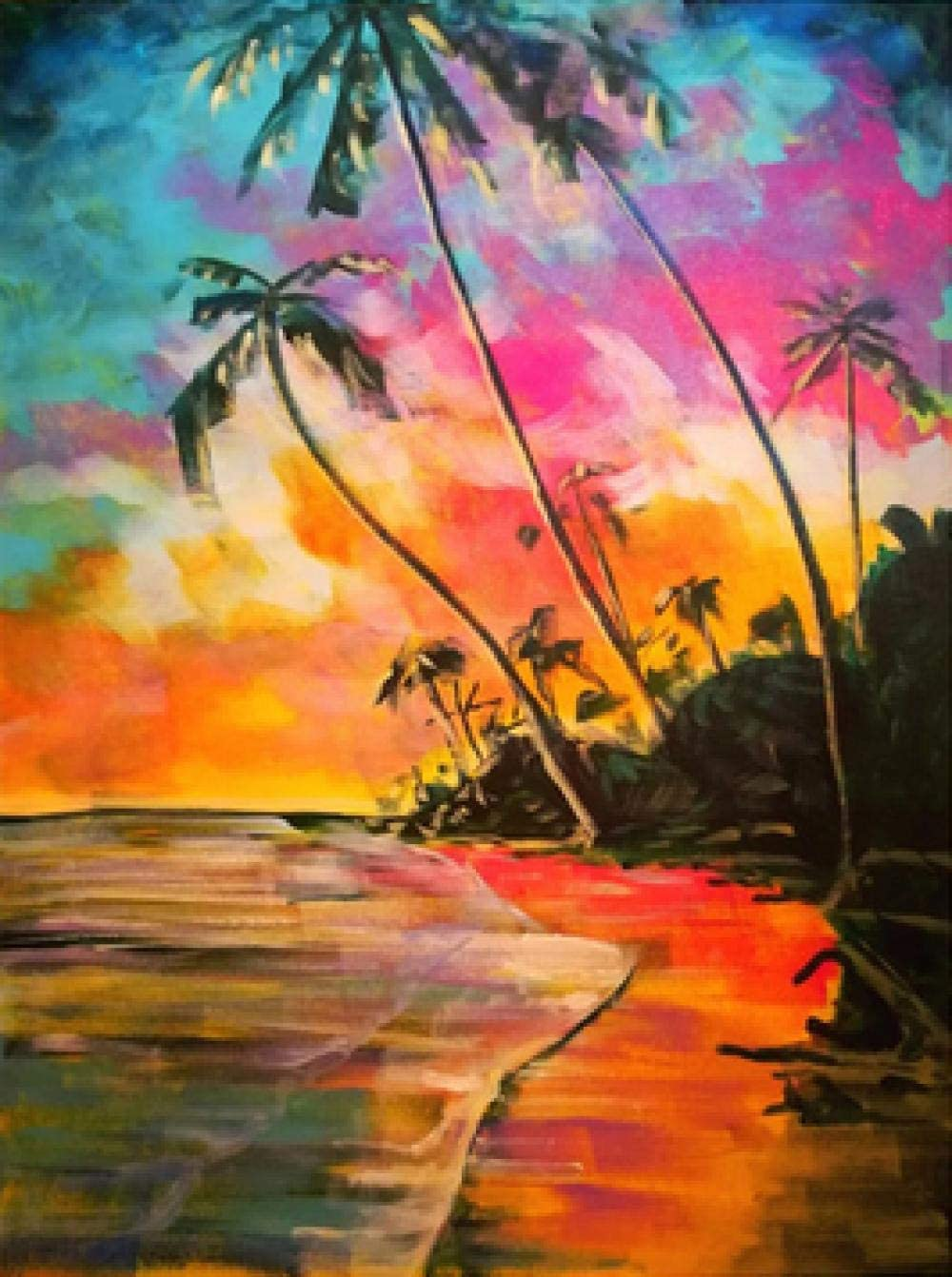 Sunset Beach Harbor View with Frame Paint by Number Kits ifymei Paintworks DIY Oil Painting for Kids and Adults
