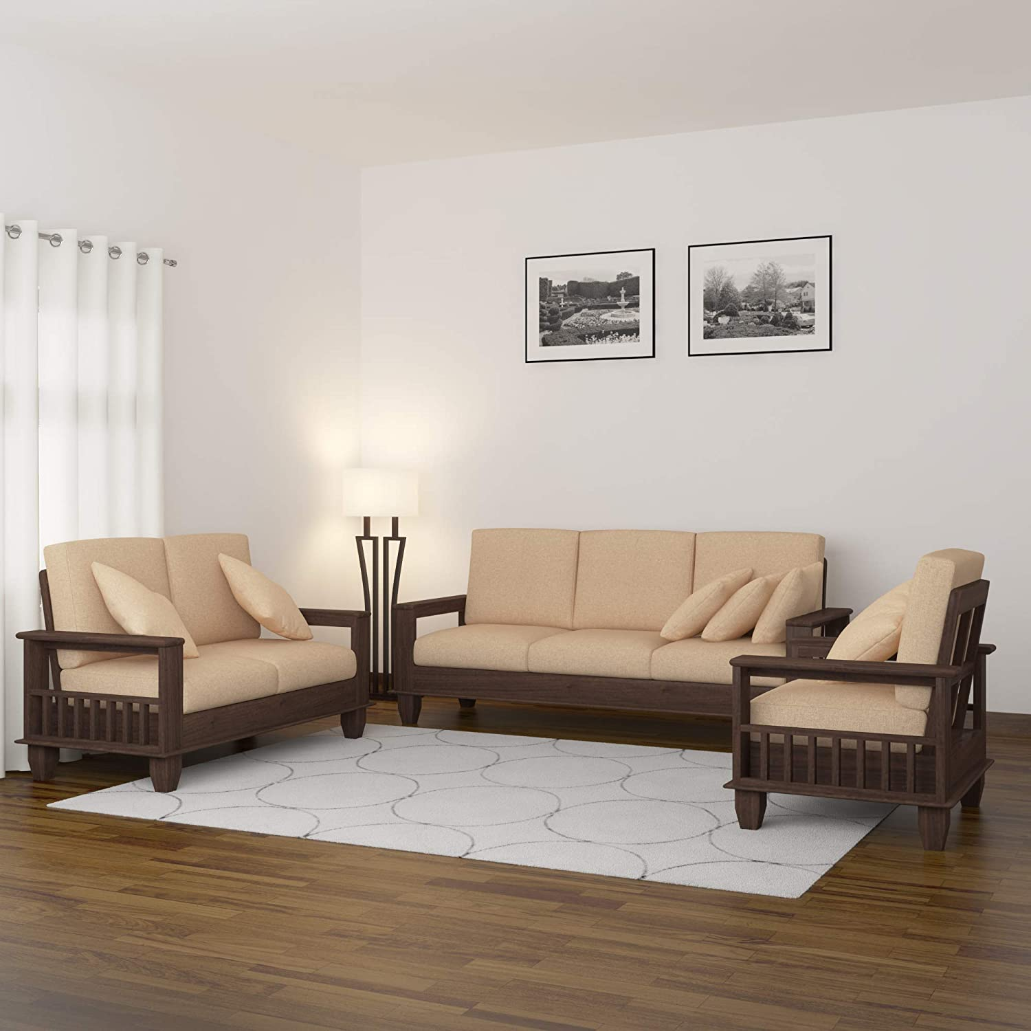 Mamta Decoration Solid Sheesham Wood Wooden Sofa Set Furniture  for Living  Room and Office  9+9+9  Walnut Brown