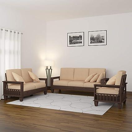 Swell Mamta Decoration Solid Sheesham Wood Sofa Set Furniture For Living Room 3 2 1 Walnut Brown Ibusinesslaw Wood Chair Design Ideas Ibusinesslaworg